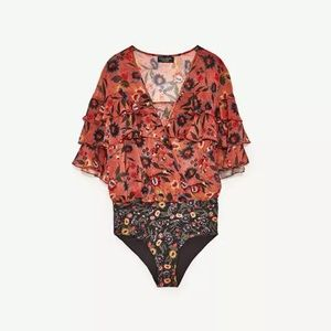 Zara Salmon Floral Bodysuit